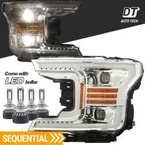 AlphaRex Projector LED High/Low Beams Headlights Headlamps Assembly Switchback DRL+Turn Signal For 2018-2020 F-150 F150 (Chrome projector with LED light bulbs with Sequential Amber Turn Signal)