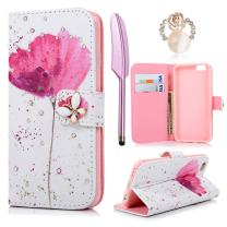 iPhone 6S Case,iPhone 6 Case (4.7 inch)- (NOT FOR iPhone 6 Plus)MOLLYCOOCLE Wallet Premium PU Leather Bling Diamond Butterfly Magnetic Hand Wrist Strap TPU Bumper Cover & Dust Plug & Stylus Pen,Flower