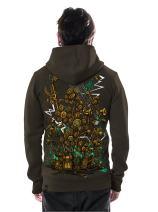 Men's Sound Garden Hoodie Graphic Print Psychedelic Mud Zip-Up Heavy Pullover