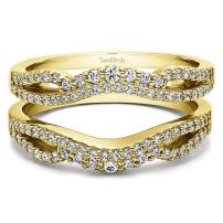 TwoBirch Sterling Silver Double Infinity Wedding Ring Guard Enhancer With Cubic Zirconia (0.57 ct.)