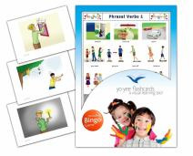 Yo-Yee Flashcards - Phrasal Verbs Flash Cards with Matching Bingo Game Cards in One Set - Vocabulary Picture Cards for Toddlers, Kids, Children and Adults