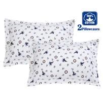 Brandream White Nautical Pillow Cases Set of 2 Standard Size 100% Cotton Pillow Shams Anchors Decorative Pillow Covers 20 X 27