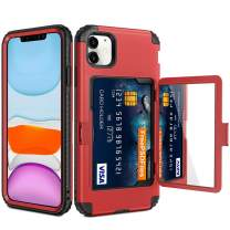 Vofolen for iPhone 11 Case Wallet Credit Card Holder Slot Heavy Duty Full-Body Protection Hybrid Bumper Armor Protective Hard Shell with Makeup Mirror Back Pocket Front Bumper for iPhone 11 6.1 Red