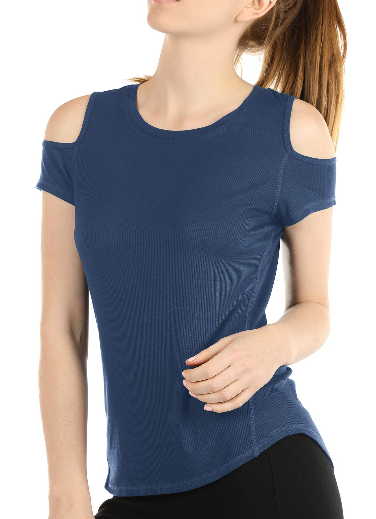 Melpoint Yoga Tops for Women - Cold Shoulder Short Sleeves Ribbed Casual T-Shirts