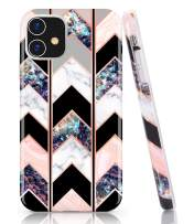 BAISRKE iPhone 11 Case, Shiny Rose Gold Wave Geometric Marble Case Slim Soft TPU Rubber Bumper Silicone Protective Phone Case Cover for iPhone 11 6.1 inch (2019) [Black]