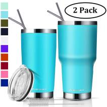 Zonegrace 2 Pack Aquamarine Blue 20 oz and 30 oz Classic Tumbler with Straw Lid Travel Mug Gift Vacuum Insulated Coffee Beer Pint Cup 18/8 Stainless Steel Water Bottle