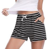 Aibrou Womens Pajama Shorts Cotton Striped Sleep Shorts Short Pajama Bottoms for Summer