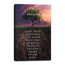 """Yetaryy Success Tree Inspirational Quote Canvas Wall Art Motivational Motto Painting Inspiring Entrepreneur Posters Prints Artwork Decor Framed for Home Office Classroom Ready to Hang - 12"""" Wx18 H"""
