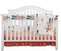 Boho Coral Feather Floral Ruffle Baby Minky Blanket Peach Floral Nursery Crib Skirt Set Baby Girl Crib Bedding Feather Blanket (Feather Floral 4pc Set)