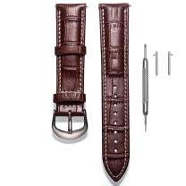 Leather Watch Band, Alligator Embossed Replacement Strap for Men or Women Choice of 16mm 18mm 20mm 22mm with Silvery Buckle