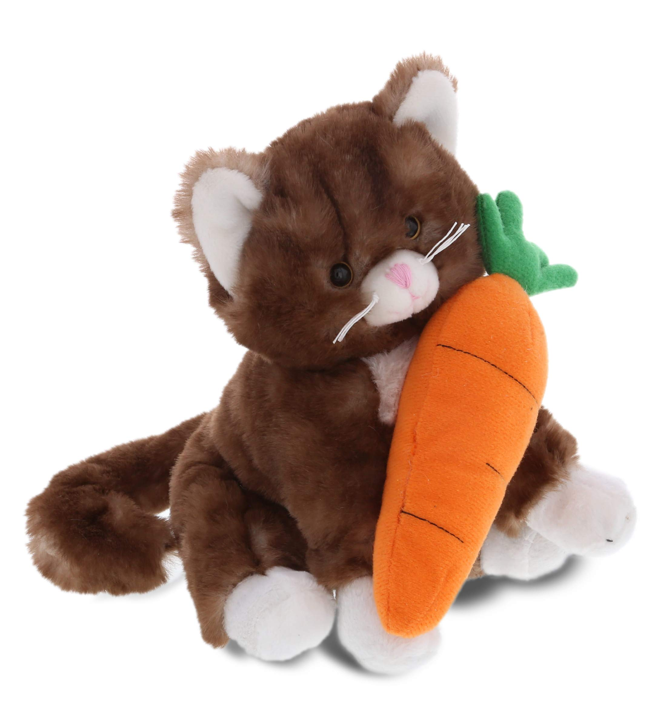 "DolliBu Happy Easter Super Soft Plush Brown Cat with Carrot - Cute Stuffed Animals with Carrot Plush Toy, Perfect Easter Holiday Surprise Gift, Spring Easter Pet Life Plush Animal - 7"" Inches"