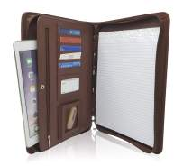 Zippered PU Leather Business Portfolio Padfolio - Professional Light Brown Faux Leather Portfolio Binder & Organizer Folder with 10.5 Inch Tablet Sleeve by Lautus Designs