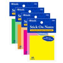 """BAZIC 3"""" X 3"""" Neon Stick On Notes, Bright Assorted Colors Sticky Note Self-Stick Notes Sticking Paper, Post Stickies Colorful Memo Pads, Clean Removal Recyclabl (80 Sheets/Pack), 24-Packs"""