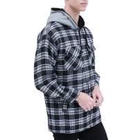 Mens Plaid Jackets Casual Full Zip Up Warm Flannel Hooded Fleece Coat Winter