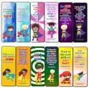 Religious Bookmarks for Kids - Super Hero (12 Pack) - Collection of Bible Verses for Kids - Stocking Stuffers Devotional Bible Study - Church Ministry Supplies Teacher Classroom Incentive Gifts