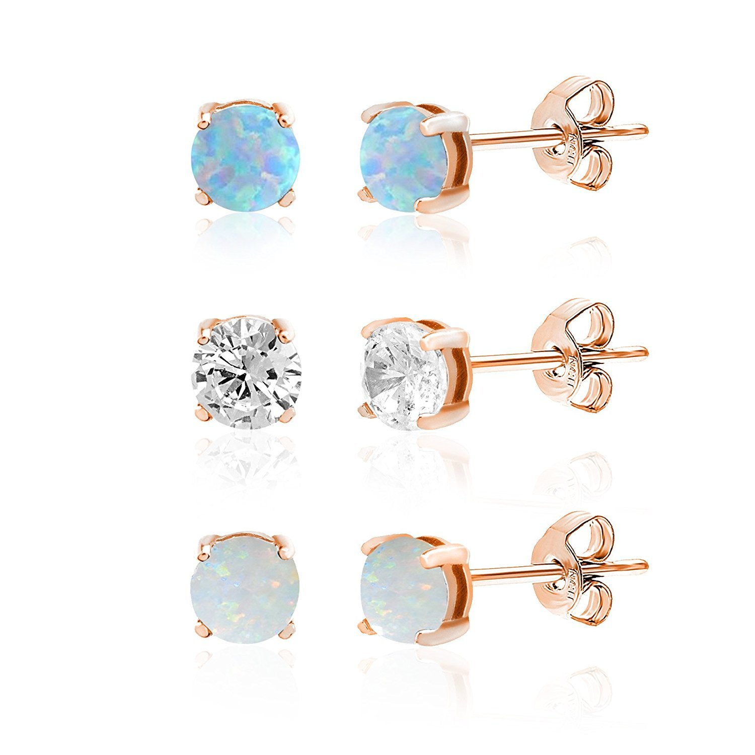 LESA MICHELE Rose Gold Plated Sterling Silver Lab Created Opal and Cubic Zirconia 3 pair Stud Earring Set for Women