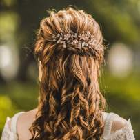 Unicra Wedding Flower Hair Vine Bridal Leaf Headpiece Headbands Wedding Hair Accessories for Brides and Bridesmaids(5.5inches) (Rose Gold)