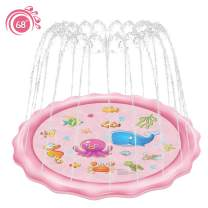 """Rexin Scisfuture Splash Play Mat 68"""", Sprinkler for Kids,Outside Toys Girl Baby Pool Outdoor Backyard Toys for Toddlers Age 3-10 (2020 Upgrade Version ,Pink)"""