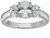 Platinum or Gold Plated Sterling Silver Fancy Cut 3-Stone Ring made with Swarovski Zirconia