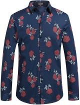 SSLR Men's Floral Cotton Long Sleeve Casual Button Down Shirts