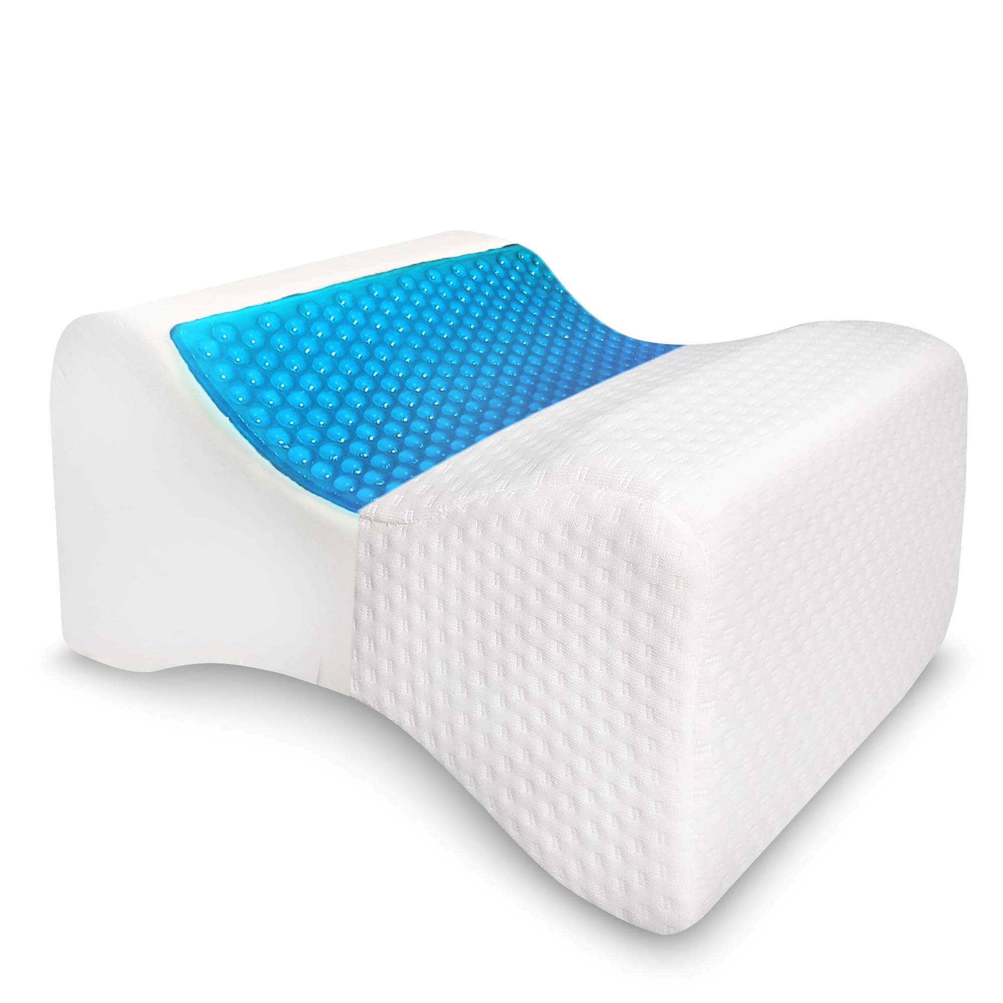 Knee Pillow for Side Sleepers - Contour Legacy Leg Wedge for Sleeping - Sciatica, Hip, Joint and Lower Back Pain Relief - Orthopedic Cooling Gel Memory Foam for Under Knees & Between Legs Support