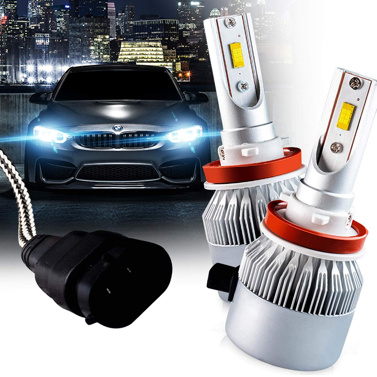 Brightt LED Headlight Bulbs Conversion Kit (9004-HL/HB1) (pack of 2) High-Power Restoration Kit, 200% Brighter than Stock Headlights – 50,000 Hours Continuous Use, 8000 Lumens, 6000k White