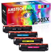 Amstech Compatible Toner Cartridge Replacement for HP 305A CE410A 305X CE410X HP LaserJet Pro 400 Color MFP M451dn M451nw M475dn M451dw Pro 300 Color MFP M375nw Ink (Black Cyan Yellow Magenta, 4-Pack)
