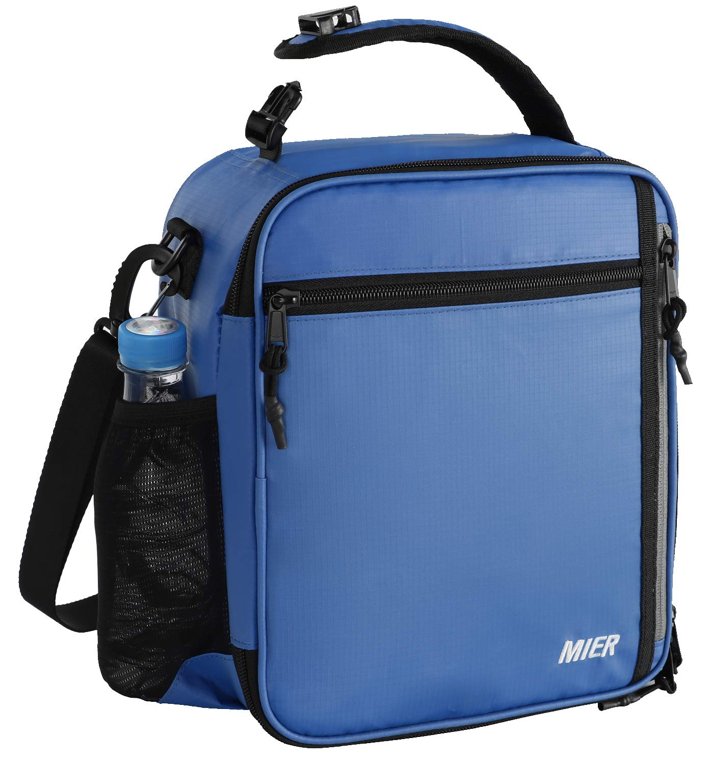 MIER Insulated Lunch Box Bag for Men Women Adult Teen Children, Lunch Cooler Bag with Shoulder Strap and Bottle Holder, 12 Can, Navy Blue