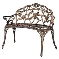 "VINGLI 38.5"" Patio Park Garden Outdoor Metal Rose Bench,Cast Iron Cast Aluminium Frame Antique Finish Chair,Accented Lawn Front Porch Path Yard Bronze Decor Deck Furniture for 2 Person Seat"