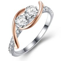 Vibrille Rose Gold Plated and Sterling Silver Swirl Two-Stone Engagement Wedding Band Rings for Women