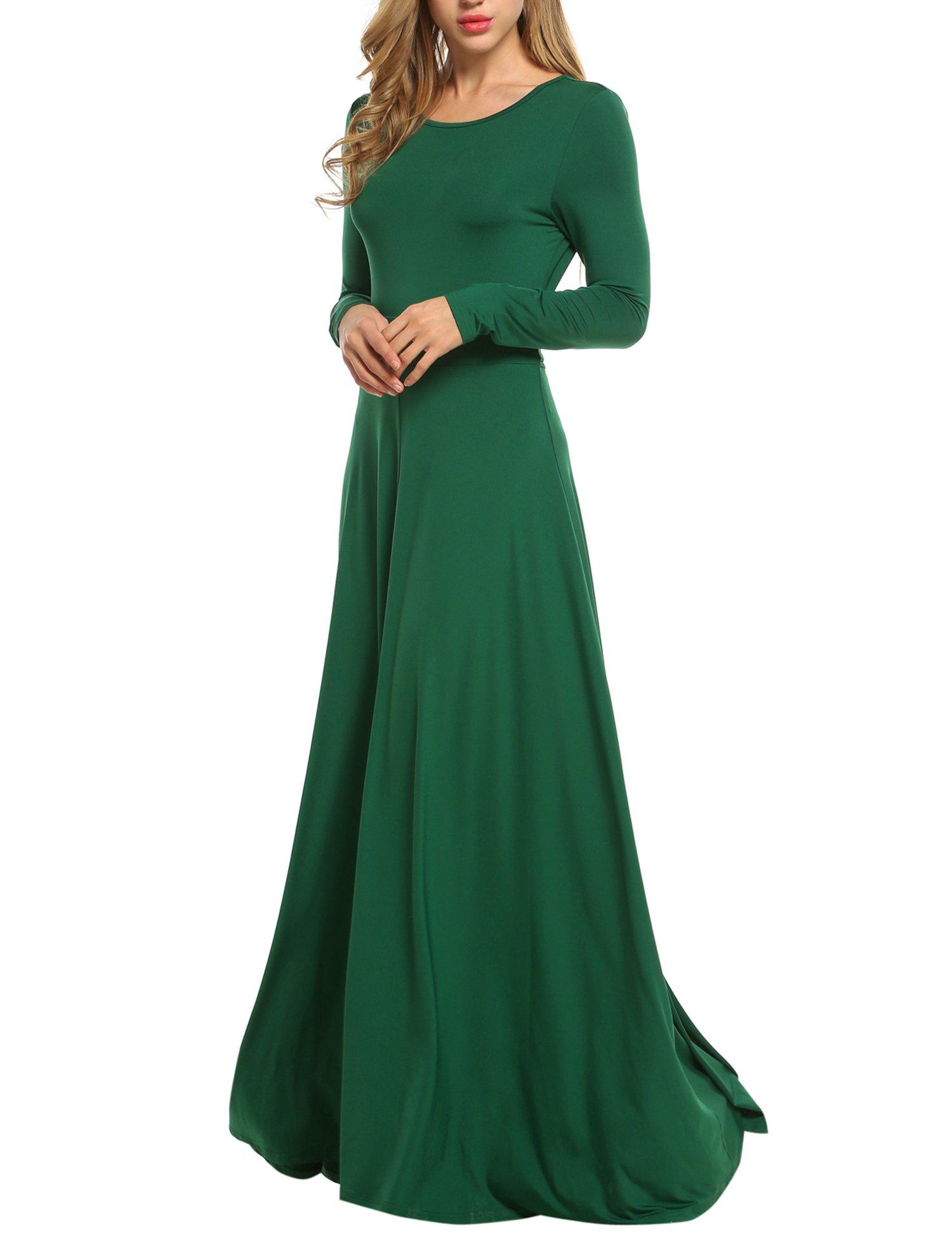 ACEVOG Women Casual Sleeveless Maxi Dress Chiffon V-Neck High Waist Evening Party Dress with Belt