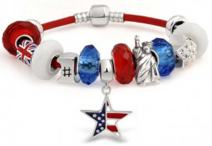American Flag Patriotic USA Olympian Multi Themed European Bead Charm Red Leather Bracelet For Women 925 Sterling Silver