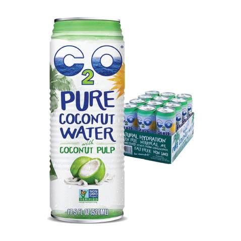 C2O Pure Coconut Water with Pulp   Plant Based   Non-GMO   No Added Sugar   Essential Electrolytes   17.5 FL OZ (Pack of 12)