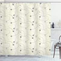 """Ambesonne Grey Shower Curtain, Airline Route Map Flight Jet Destination Control Fly Theme Textured Travel Trip Journey, Cloth Fabric Bathroom Decor Set with Hooks, 84"""" Long Extra, Beige"""