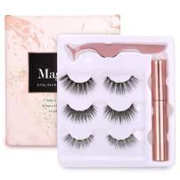 Magnetic Eyeliner Eyelashes Kit For Women,BEENLE Reusable Magnetic Eyelashes Magnetic Lash Liner Kit,Easy to Apply,Natural Looking