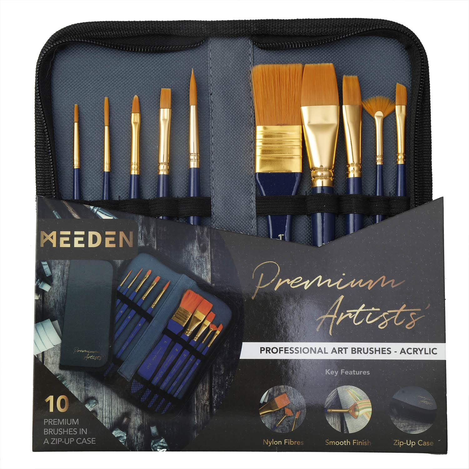 MEEDEN 10 Pcs Paint Brush Set Nylon Hair Includes a Carrying Case for Acrylic Watercolor Painting, Perfect Gift for Artists, Adults & Kids