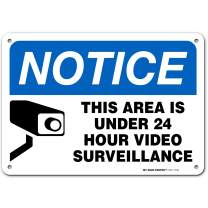 """Warning Security Cameras in Use 24 Hour Video Surveillance Sign, Made Out of .040 Rust-Free Aluminum, Indoor/Outdoor Use, UV Protected and Fade-Resistant, 7"""" x 10"""", by My Sign Center"""