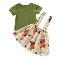 Thanksgiving Kids Toddler Baby Girls Dresses Outfit Ruffled Long Sleeve T-Shirt+Pumpkin Strap Skirt Fall Clothes Set