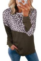 Enafad Women Long Sleeve Crew Neck Shirts Casual Loose Color Block Pull Over Tops