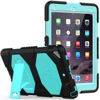 iPad 6th/5th Generation Case, SEYMAC Three Layer Heavy Duty Soft Silicone with Built-in Kickstand Full-Body Protection Case for iPad 9.7 inch 2017/2018/iPad Pro 9.7/iPad Air 2 (Black/Sky Blue)