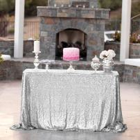 FancyGift 60 x 120-Inch Silver Sequin Tablecloth Rectangle Glitter Table Cover for Wedding Christmas Event Decoration Photography Backdrop
