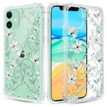 Caka Clear Case for iPhone 11 Flower Clear Case Floral Pattern Design for Girls Women Girly Cute Slim Soft TPU Transparent Shockproof Protective Case for iPhone 11 (Light Blue)
