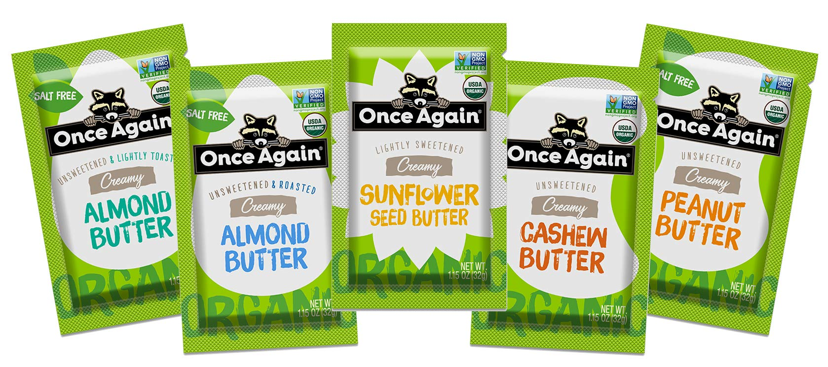 Once Again Squeeze Pack Variety (5 Ct), Organic - Creamy - Sunflower Butter, Cashew Butter, Roasted Almond Butter, Lightly Roasted Almond Butter & Peanut Butter