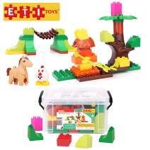 ETI Toys, 39 Piece Bublu Petting Zoo Building Blocks. Build Forest, Natural Habitat of Animals, Zoo. 100 Percent Safe, Creative Skills Development. Gift, Toy for 3, 4, 5 Year Old Boys and Girls