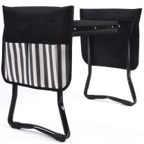 UHINOOS Garden Kneeler and Seat-Foldable Garden Bench Garden Stools with 2 Tool Pouches, Portable Garden Kneeling Pad EVA Foam Pad(Black&White)