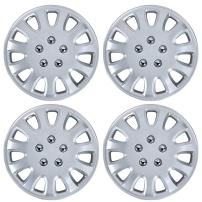 BDK Hubcaps 14 Inch Wheel Protection - OEM Replacement, Easy Installation, Total 4 Pieces (2 front 2 rear) (KT-842-14_AMwng1),Silver