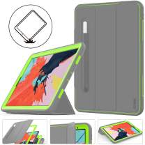 iPad Pro 11 Case, Three Layer Shockproof Protective Smart Cover, with Auto Sleep Wake Leather Stand Feature & Heavy Duty Case for iPad Pro 11 inch 2018 A1934/A1980/A2013 (Green/Gray)