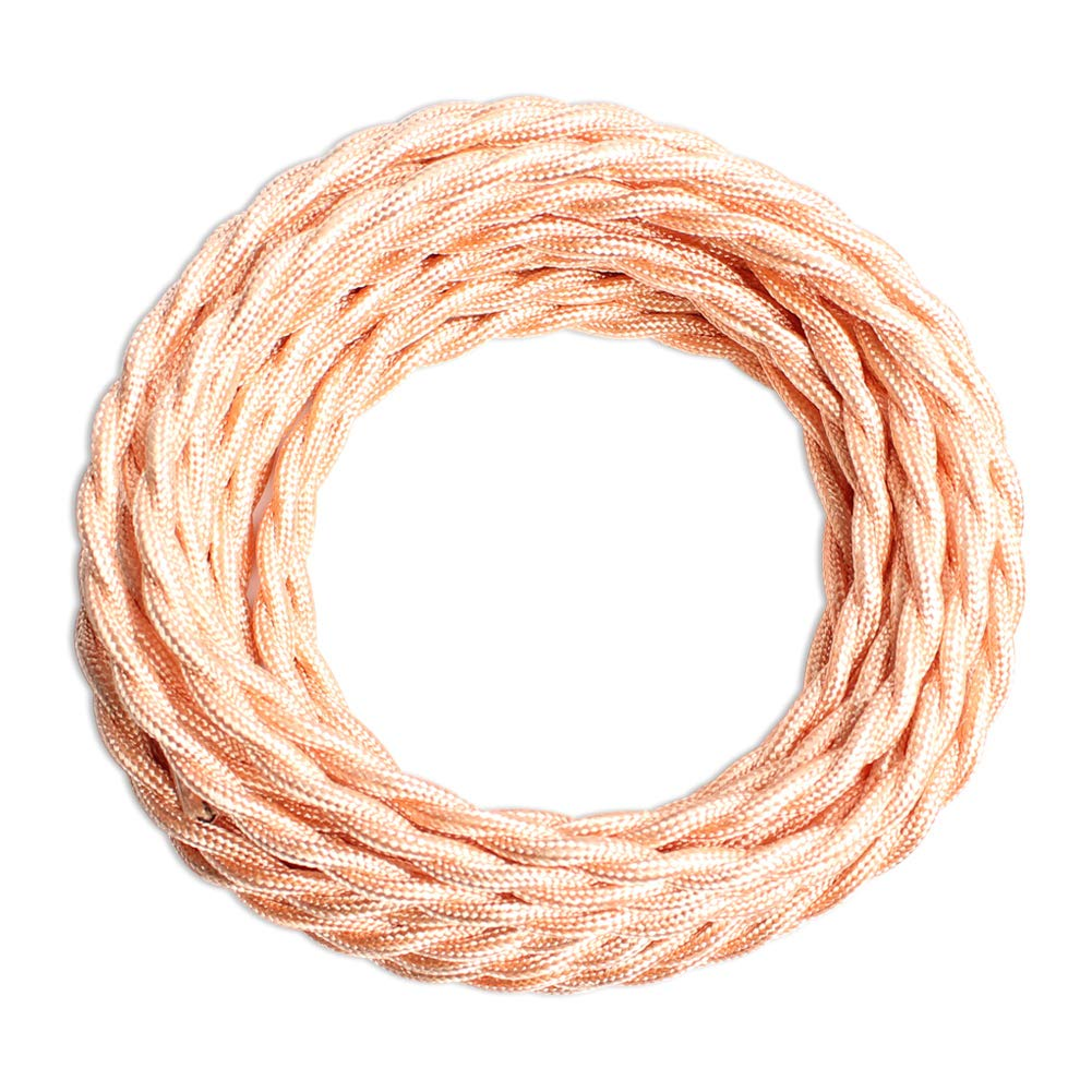 25ft Fabric Cloth Covered Lamp Twisted Wire,PRUNLLA Vintage 18/2 Industrial Electrical Cord,18-Gauge Antique Style for Retro Lamp,DIY Projects(Baby Pink)