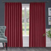 "Macochico Polyester Cotton Blackout Lined Curtains Pinch Pleated Room Darkening Drapes for Bedroom Window Treatment Panel for Living Romm Bedroom, Burgundy 72"" W x 102"" L Inch (1 Panel)"
