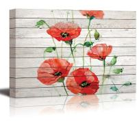 wall26 - Watercolor Red Poppy Flowers Over Wood Panels - Canvas Art Home Decor - 16x24 inches